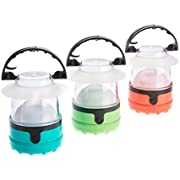 Dorcy 4 LED Mini Lantern 3 Pack with Hanging Hooks and Batteries, Assorted Colors