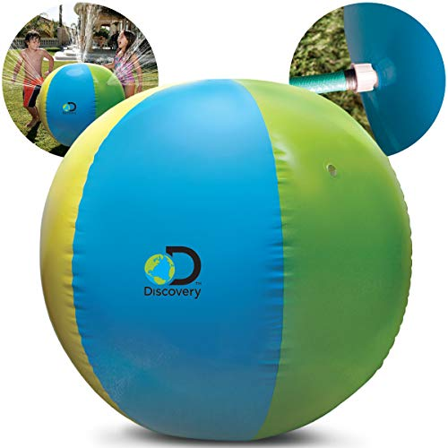 """Discovery Kids Outdoor Inflatable Sprinkler Beach Ball, Water Toy Spray Ball for Children, Perfect for Summer, Outdoor Pool Parties, Backyard Lawn Games, 32"""" Tall"""