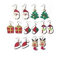 クリスマスフェイクレザーイヤリング レディース ガールズ クリスマス 軽量 ティアドロップ ダングルイヤリング クリスマスパーティー用