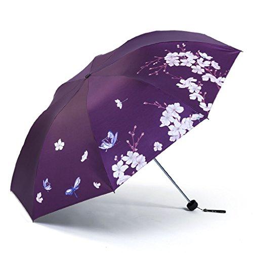 Paraguas ultraligero con protección solar UV, doble uso, cero transparente, color negro...