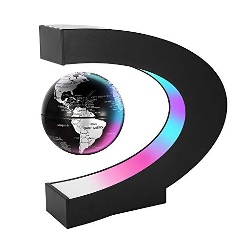 Gresus Magnetic Levitation Floating World Map Globe with C Shape Base, Floating Globe with LED Lights, Great Fathers Students Teacher Business Boyfriend Birthday Gift for Desk Decoration (Black)