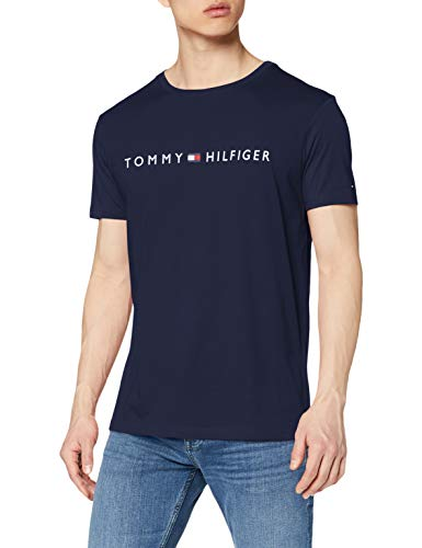 Tommy Hilfiger Herren Cn Ss Tee Logo Schlafanzugoberteil, Blau (Navy Blazer), Medium (Herstellergröße:)