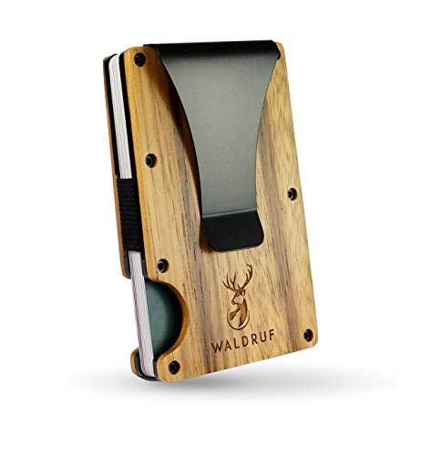 Tarjetero con pinza para billetes para hombre, de madera auténtica, minidaleta con protección RFID, soporte para tarjetas de hasta 15 tarjetas con clip para dinero