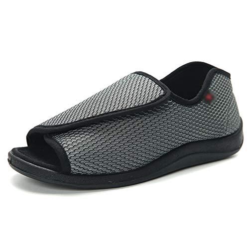 AELEGASN Sandalias Diabéticos Mujer Hombre Zapatillas De Estar por Casa Zapatos Respirable Zapatillas Ortopédica para Ensanchar Ajustable Cómoda Artritis Edema Zapatos Hinchados 35-51,Gris,46