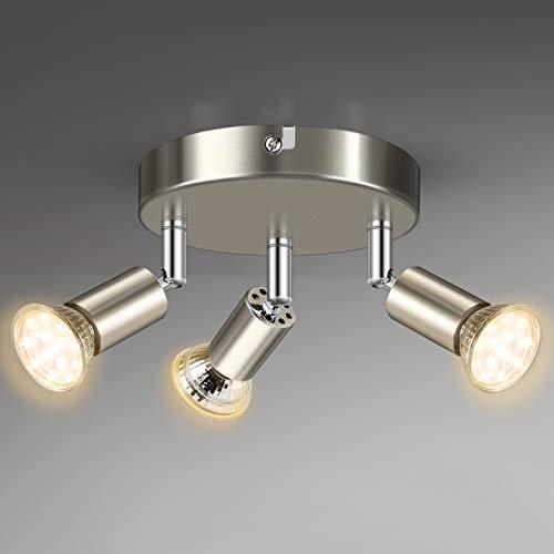 Unicozin 3 Flammig LED Deckenstrahler, LED Deckenleuchte inkl. 3 x 4W GU10 LED Leuchtmittel (400LM, Warmweiß), ø140mm, Matte Nickel Deckenspot Schwenkbar, für Küche Wohnzimmer Schlafzimmer