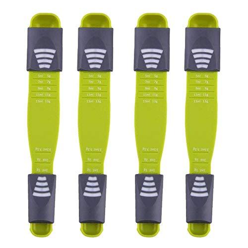 Cucchiaio dosatore regolabile,Set di 4 Measuring Spoons Preciso Cucina Misurini Cucchiai Dosatore Set per Misurazione a Secco e Ingredienti Liquidi, proteine in Polvere, Ottimo Aiuto da Cucina