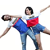 COUPLESTUFF.IN Men's and Women's Braggy/Swaggy; Matching Couple Crop Top and T-Shirt (Red White ;...