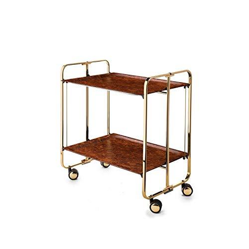 DON HIERRO - Carrito auxiliar con ruedas BAUHAUS, armazón baño de Oro, 2 bandejas.