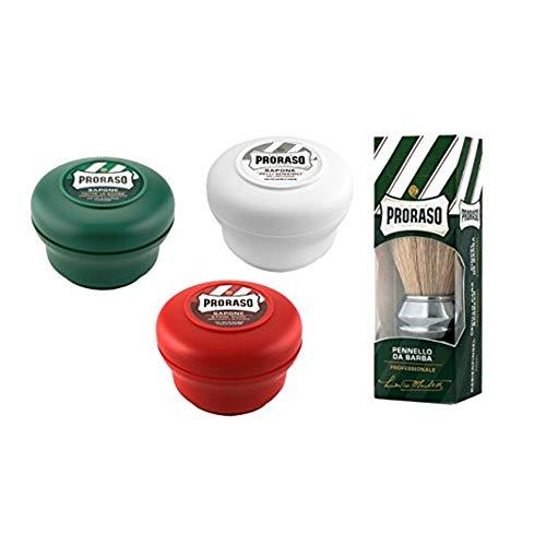 Proraso Brocha de Afeitar Profesional + 3 x Jabón de Afeitar Proraso: Verde, Blanco y Rojo.