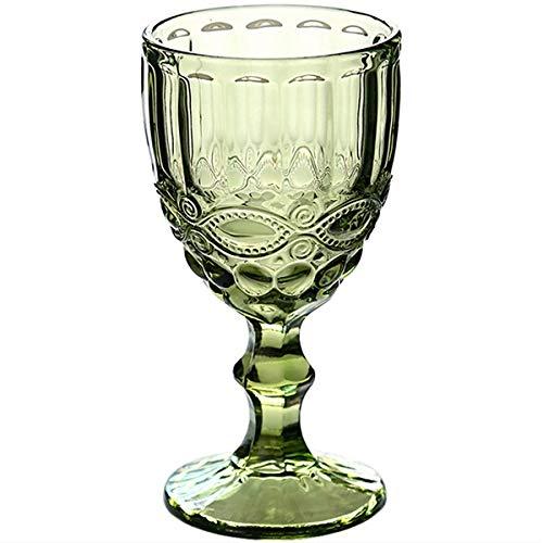 SMNHSRXH Wijnglas Bekers Retro Vintage Relief Rode Wijn Cup 300ml Graveren Embossment Juice Drinkglazen Champagne Verschillende Goblets Houten
