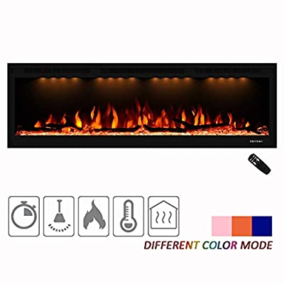 "Masarflame Amaze Luxurious 50"" Electric Fireplace, Wall Mounted & in Wall Recessed Fireplace Heater, Changeable Flame Color & Top Light, Remote and Touch Control with Timer, 750/1500W, Log & Crystal"