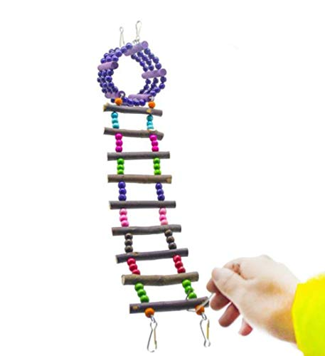Hpybest Hamster Honing Tas Papegaai Speelgoed Paars Ring Ladder + Log Klimmen Ladder Set