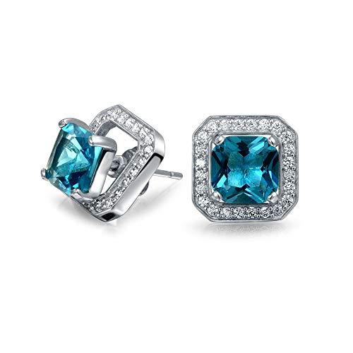 2Ct Zirconia Cúbico Azul Londres CZ Halo Cuadrado Arete Chaqueta Corte Princesa Pendiente Para Mujer Topacio Simulado