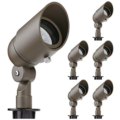 Lumina 4W LED Landscape Lights Cast-Aluminum Waterproof Outdoor Low Voltage Spotlights for Walls Trees Flags Light with Warm White 4W MR16 LED Bulb and ABS Ground Stake Bronze SFL0104-BZLED6 (6PK)