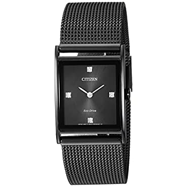 Ladies Citizen Eco-Drive BL6008-53E Axiom Watch with Black Dial and Black Mesh Bracelet