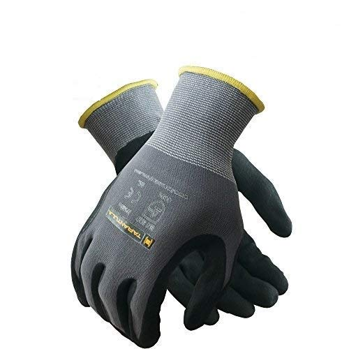 TARANTULA Nitrile Coated Safety Work Gloves for General Purposes, Lightweight Work Gloves, Grey Nylon With Spandex Shell, Black Micro Foam Nitrile and Dots on Palm and Fingers, 12 Pair Per Pack