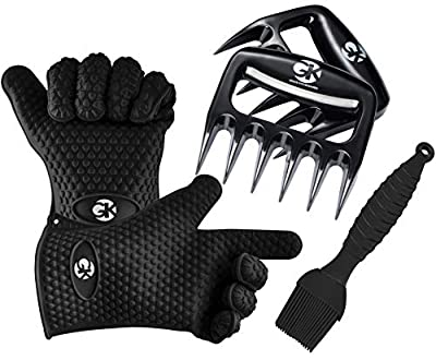 GK GRACE KITCHENWARES 3 x No.1 Set: The No.1 Silicone BBQ/Cooking Gloves Plus The No.1 Meat Shredder Claws Plus No.1 Silicone Basting Brush Plus 3 ebooks w/ 344 Recipes. Superior Value Premium Set