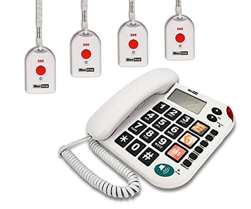 MAXCOM KXT481SOS (G-TELWARE®) Haus-Notruf-Seniorentelefon mit Funk-SOS-Sender, schnurgeb&enes Festnetz-Handy mit 4 Umhängesendern, Große Tasten, TAE Stecker, Hörgerätekompatibel