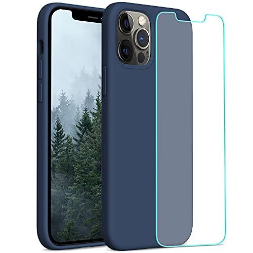 YATWIN Compatibile con iPhone 12 Cover 6,1'', Compatibile con iPhone 12 PRO Cover Silicone Liquido + Vetro Temperato, Protezione Completa del Corpo con Fodera in Microfibra, Blu Navy