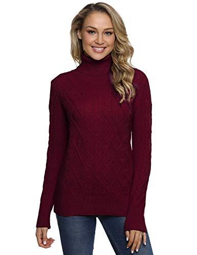 PrettyGuide Women's Turtleneck Sweater Long Sleeve Cable Knit Sweater Pullover Tops S Burgundy