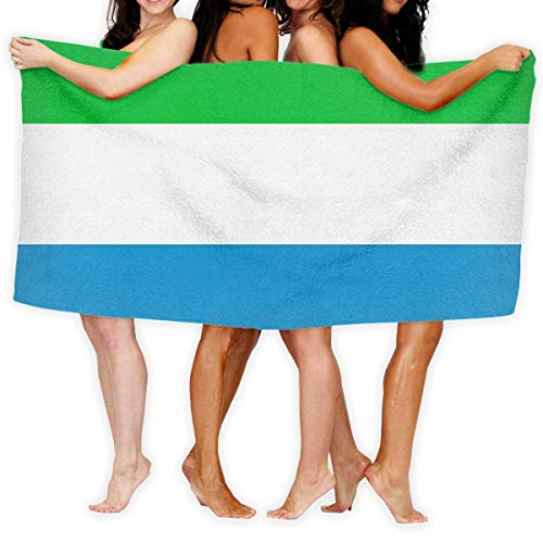 Ahdyr Beach Towels for Women Men Blanket Striped Sierra Leone Flag Bath Sheets Soft 100% Polyester Camping Large Towel Cover for Yoga Mat Tent Floor 31.5' X 51.2'