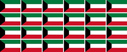 Mini Aufkleber Set - Pack glatt - 33x20mm - Sticker - Kuwait - Flagge - Banner - Standarte fürs Auto, Büro, zu Hause & die Schule - 24 Stück