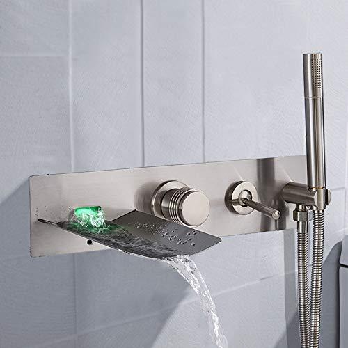 DAMO & GUYAN wastafelkraan, mengkraan voor badkuip, chroom, LED, met handdouche, schenktuit, warm en koud water