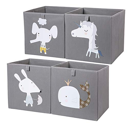 AXHOP Storage Bins Storage Cubes, 12 ×12 Foldable Fabric Storage Containers Organizer for Kids, Toddlers, Office, Closet, Shelf, 4-Pack(Grey Unicorn)