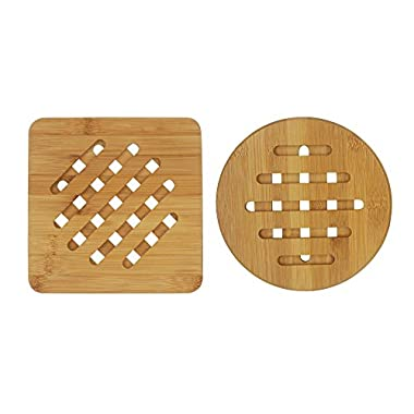 Bambri Bamboo Trivets for Kitchen, Hot Pads, Teapot Trivet, Pack of 2 (Square and Round)