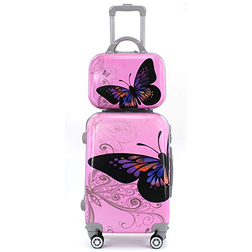 Maleta de Cabina con Neceser Trolley de Viaje Equipaje de Mano 4 Ruedas giratorias 360grados Dibujos Fantasia Paisaje (Mariposa Rosa)