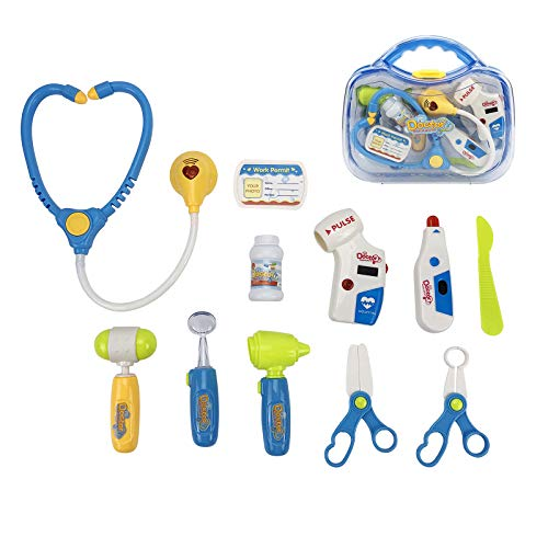 LeQi Doctor Kit for Kid, 11PCS Kids Pretend Play Dentist Doctor Kit with Electronic Stethoscope Toy and Carrying Case, Role Play Educational Toy Doctor Playset for Toddler Boys Girls
