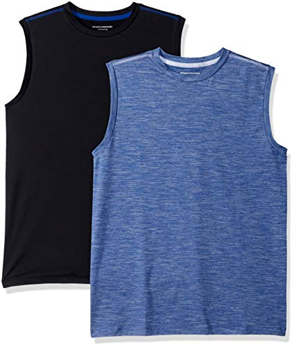 Amazon Essentials 2-Pack Active Muscle Tank athletic-shirts, Bright Blue/Black, Small
