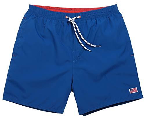 NITAGUT Men's Swimwear Sports Running Shorts Swim Trunks Quick Dry Lightweight with Pocket Blue-2XL