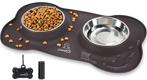 Pecute Futternapf Fressnapf Hunde Katzen(2 * 400ml), Hundenapf Edelstahl Katzenapf mit Rutschfesten Silikon Tablett Matte,Schüssel Lebensmittel Wassernapf M (Schokoladenfarbe)