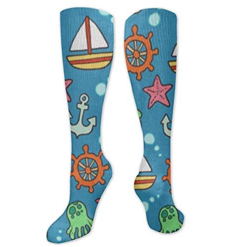 Calcetines de poliéster y algodón por encima de la rodilla, retro, unisex, para muslo, cosplay, botas largas, para deportes, gimnasio, yoga, caricaturas, elementos de navegación impresos