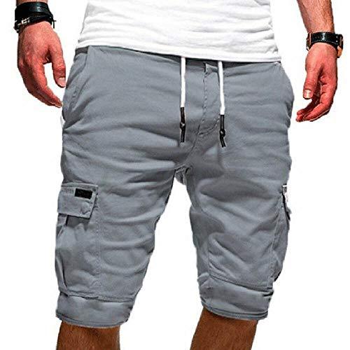 Zomer Mannen Casual Comfy Shorts Baggy Gym Sport Jogger Elastische Taille Zakken Knie-Lengte Shorts Zwart Groen Wit Khaki Grijs