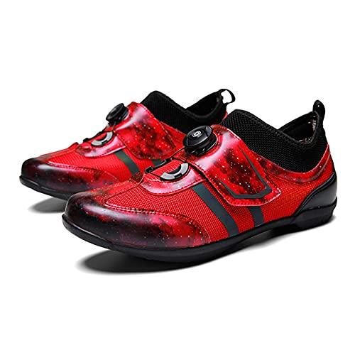 Sebasty Zapatillas de Ciclismo para Hombres,Mujeres,Malla de Microfibra,Zapatillas de Ciclismo,Zapatillas Transpirables para Ciclismo de Interior,Red-36