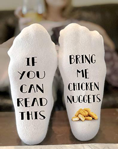 If you can read this bring me Chicken Nuggets Novelty Funky Crew Socks Men Women Christmas Gifts Cotton Slipper Socks