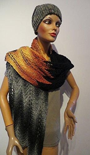 breiter Schal oder Tuch ZickZack handgestrickt - Unikat