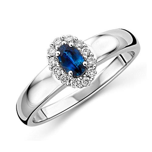 MIORE - Anello di fidanzamento con zaffiro, in oro bianco (375) 9 kt, e diamanti brillanti da 0,15kt