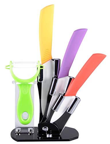 tea4chill Keramikmesser Set/Messer Set/Messerblock/Küchenmesser Set 5-teilig (3 x Messer, 1 x Schäler und 1 x Messerblock)