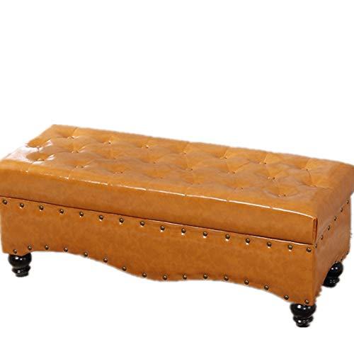 Zitbank van leer met waxolie rechthoekig woonkamerbank schoen slaapkamerbank opbergbox vouwbox kist en voetensteun speelgoed 3