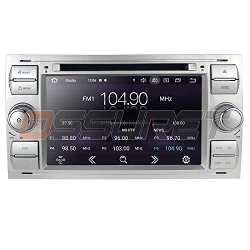 Android 10 2 DIN Car GPS Navigation Bluetooth Car Radio con Pantalla de 7 Pulgadas Se Adapta a Ford Connect Fiesta Galaxy Kuga Soporte Mirror-Link WiFi / 4g USB DVR RDS OBD Dab + (Plata)