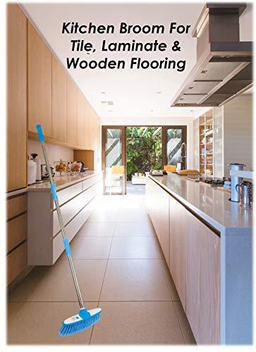 Weicher Kehrbesen mit Edelstahl-Stiel für den Innenbereich - Der perfekte Besen für den Küchenboden Ihres Hauses - Der Kehrbesen mit langem Stiel (Blau) - 5
