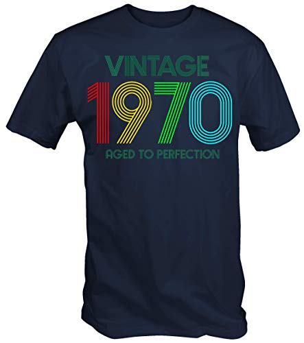 6TN Hombre Camiseta Vintage 1970 Aged To Perfection (S, Azul Marino)