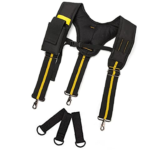 Tool Belt Suspenders Padded Heavy Duty Adjustable Lumbar Support Multi-Pockets Carpenter Electrician Work Suspension Rig