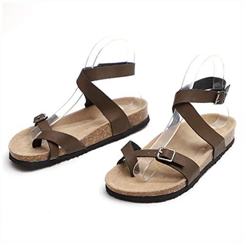 Frauen Gladiator Sandalen PU Leder Wohnungen Flip Flops Komfort Doppel Schnalle Casual Open Toe Sandale Schuhe
