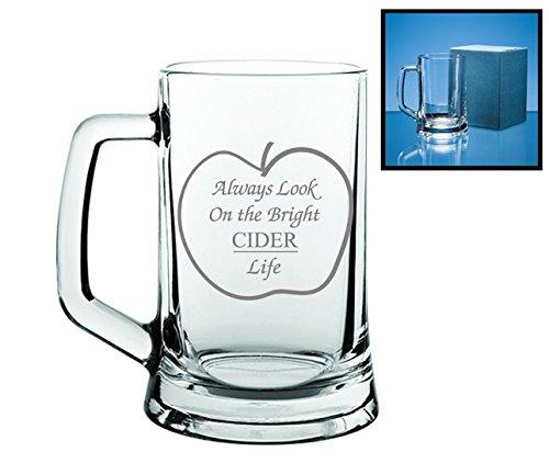 Regalo grabado diseño con texto sidra de cristal | Always Look on the Bright sidra Life