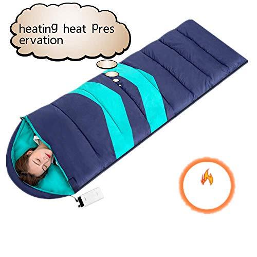 WFY Beheizte Schlafsack Mit 3-Stufen-Temperatureinstellung Und Zwei-Wege-Reißverschluss Abnehmbaren Reinigungskompressionssack Spritzwassergeschützter Schlafsack Arretieren