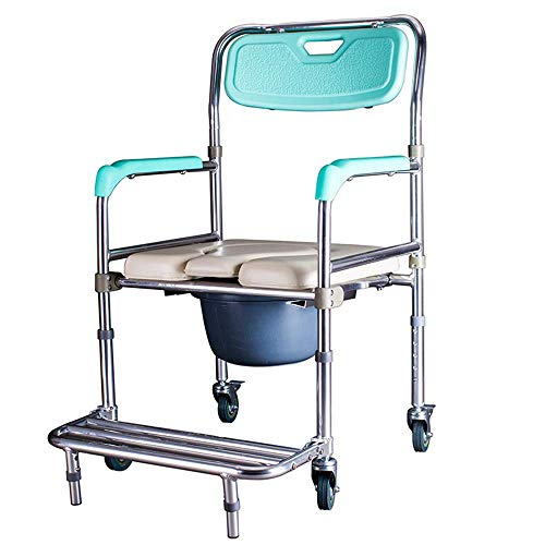 CHUNSHENN Commode Chair, Toilet Chair, Elderly Toilet Commode Toilet Chair Bedside Bathroom, Non-Slip, Sturdy Mobile Wheeled Bathroom Wheelchairs